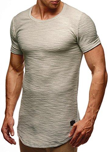 LEIF NELSON Herren Sommer T-Shirt Rundhals-Ausschnitt Slim Fit Baumwolle-Anteil | Moderner Männer T-Shirt Crew Neck Hoodie-Sweatshirt Kurzarm lang | LN6324 Signalgrau L -