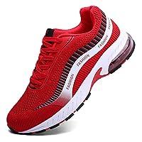 أحذية الجري XIDISO للرجال والنساء شبكة هوائية أحذية رياضية للمشي عبر التدريب والتنس للرجال, (احمر), 40.5/42.5 EU