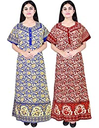 Silver Organisation Women's Cotton Nightdresses (Multicolor, ComboNT_2111, Free Size)(Combo of 2)
