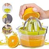 GHEART Zitruspresse Zitronenpresse Manuelle Profi Saftpressen Fruchtpresse Limettenpresse mit Behälter 400ml, 4 in 1 Spülmaschinenfest, Plastik, BPA-frei, Ø 12,5 cm, Anti-Tropf Filter Mechanismus