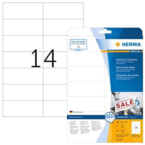 Herma 5081 Etiketten ablösbar, wieder haftend (105 x 42,3 mm) weiß, 350 Aufkleber, 25 Blatt DIN A4 Papier matt, bedruckbar, selbstklebend, Movables