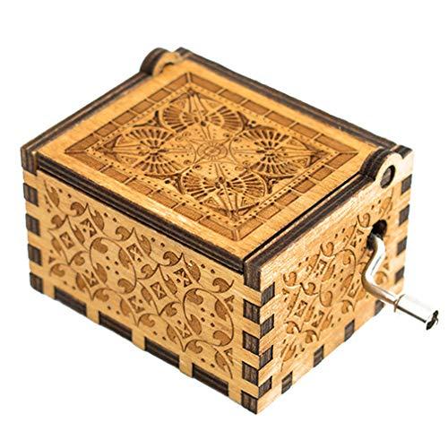 dkurbel Spieluhr antike geschnitzte Spieluhren Holz Handwerk beste Geschenke für Kinder Geburtstag (2 Farben) ()