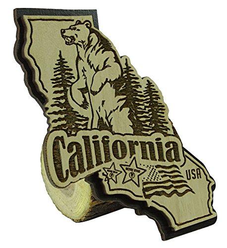Preisvergleich Produktbild USA Kalifornien-Staats-Karten-hölzerner Magnet-Andenken-Kühlraum-Magnet-Gesc...