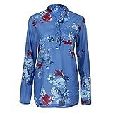 TianWlio Langarm Bluse Damen Frauen Plus Größe Chiffon Blumenmuster Lange Ärmel Bluse Pullover Tops Shirt