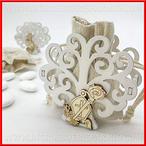 Ingrosso e risparmio 12 sacchettini in juta con struttura albero della vita bianco e legnetto mitra e bastone bomboniere confettata cresima (con confetti bianchi)