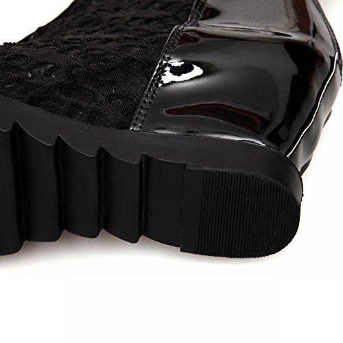 Mee Shoes Damen modern süß bequem Mesh und Lackleder Reißverschluss Peep toe invisibel Heel Sommerstiefel Schwarz