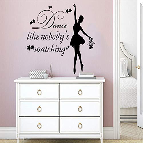 Lvabc Mädchen Tanz Zitat Wandtattoo Tanz Wie Niemand Sieht Ballett Wand Aufkleber Schlafzimmer Art Deco Aufkleber 42X55Cm