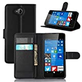 Tasche für Nokia Microsoft Lumia 650 Hülle, Ycloud PU Ledertasche Flip Cover Wallet Case Handyhülle mit Stand Function Credit Card Slots Bookstyle Purse Design schwarz