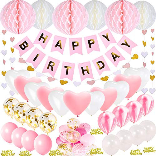 JWTOYZ Geburtstagsdeko Mädchen, Geburtstagsdeko Rosa, Deko Geburtstag Mädchen mit Happy Birthday Banner, Happy Birthday Confeti, 6pcs Wabenball, 40pcs Ballons und Herzform Girlande