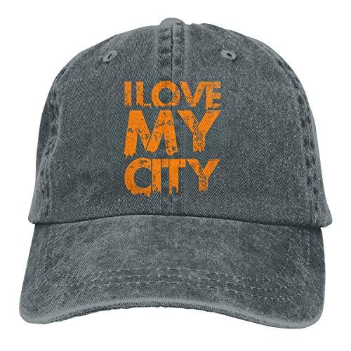 Presock I Love My City Cowboy Caps Unisex Adjustable Trucker Baseball Hats Deep Heather Low-profile Wall Mount Rack
