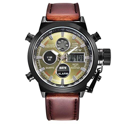 Fittingran L'esercito militare di sport del quarzo degli uomini LED guarda il calendario analogico della data dell'orologio dell'acciaio inossidabile dell'orologio dell'acciaio inossidabile (caffè-B)