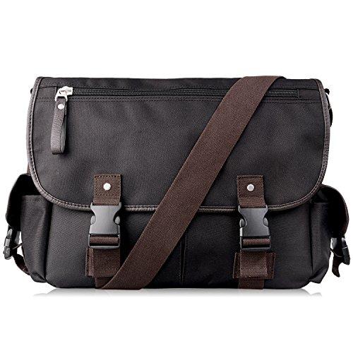 AB Earth Vintage Leather bag della tela di nylon scuola del messaggero della cartella del sacchetto, M707 Nero con manicotto del computer portatile