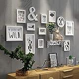 CQSMOO Mauer Skulptur Rahmen Foto Wand Holzrahmen Wand im europäischen Stil Wohnzimmer Schlafzimmer 11 Rahmen Kombination Bild by (Farbe : White)