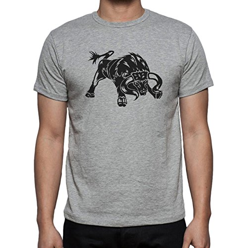 Bull Cow Animals Farm Angry Atack Herren T-Shirt Grau