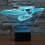 3D Optical Illusion Nachtlicht, Umiwe Tisch LED Schreibtischlampe mit 7 Farben Ändern Touch Sensor für Kinder Jungen Geburtstagsgeschenk Schlafzimmer Dekoration (Star Trek Kriegsschiffe)