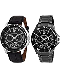 Swiss Grand Black Stainless Steel Strap Analogue Watch For Men Pack Of-2 (SG-1197)