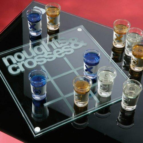 Nullen & Kreuze Trinken Spiel | Erwachsene Neuheit Game, Shots & Crosses Trinken Spiel mit Glas Board & Schnapsgläser