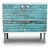 banjado - Badunterschrank 60x55x35cm Design Waschbeckenunterschrank mit Motiv Blaue Holzlatten