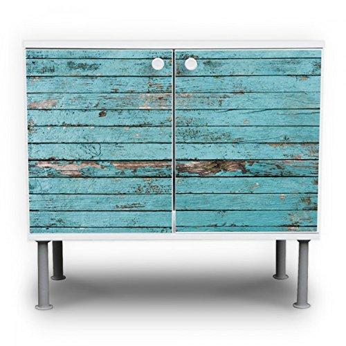 #banjado – Badunterschrank 60x55x35cm Design Waschbeckenunterschrank mit Motiv Blaue Holzlatten#