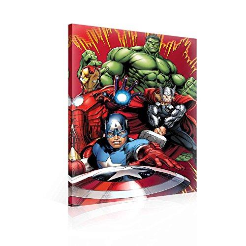 TapetoKids Leinwandbild Marvel Avengers Captain America, Hulk, Thor und Ironman Portrait - M - 60 x 40 cm - Komplettpaket! - fertig gerahmt und inklusive Aufhängung - hochwertige 230g/m² Leinwand auf Keilrahmen - kinderleichte Anbringung