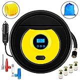 ZFITEI Bomba de compresor de Aire portátil, inflador de neumáticos Digital automático, Bomba de neumáticos de 12 V + Paquete de Regalo, 1 Tubo de extensión Inflable, 4 Tapas de autocontrol.