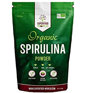 Organic Spirulina Powder by Superfood World   Blue-Green Algae Pure Dietary Superfood   Great Source of Protein & Iron  Certified Organic, Ideal for Smoothies, Sports Nutrition, Detox & Energy 250g