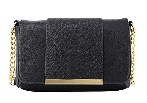 CRAZYCHIC - Damen Umhängetasche - Python gesteppte - Schlange Tasche - Gold Kette Schulterriemen - Leder imitat Schultertasche - Clutch - Abendpochette - Mädchen Handtasche - Schwarz (Snake-clutch-handtasche)
