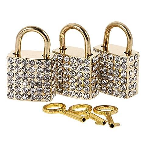 Gazechimp Set 3pcs Cadenas à Clé Diamanté Brillant d'Or Forme de Carré Style Fantaisie pour Bagage Valise Voyage Casier Boîte à Bijoux Cadeau Femmes