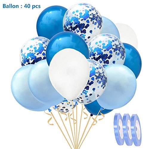 40 Stück Konfetti Ballons Set blau Weiss Hellblau,12