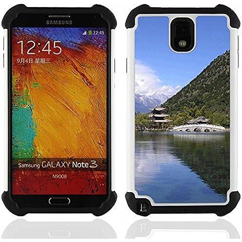 Hypernova Ibrido Heavy Duty Armatura antiurto Cover silicone cassa caso robusto Per SAMSUNG Galaxy Note 3 III / N9000 / N9005 [Tempio Natura asiatico]