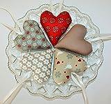 5 Herzen aus Stoff Taupe-rot *Tilda*Deko*Stoffherzen*Landhaus*Weihnachten, Advent