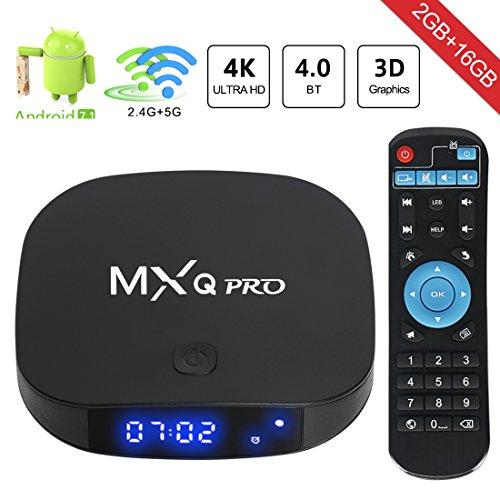 superpow – [2018 Dernière Version] MXQ Pro Android 7.1 TV Box de 2GB RAM+16GB ROM et Dual-WiFi 2.4 / 5.8GHz Smart TV Box avec BT 4.0 / HD / H.265 / 4K / 3D