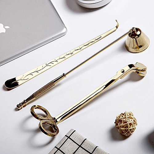 Edelstahl Gold Rasentrimmer Kerzendocht Schere Docht Dipper Bell Kerzenlöscher Kit Kerze Accessory Tools Set von 3Tolles Geschenk für die Kerze- und zivilisierte Weise zu löschen eine Kerze