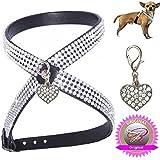 XXS schwarz Anhänger Herz Chihuahua Hunde Strass Geschirr Hundegeschirr Softgeschirr