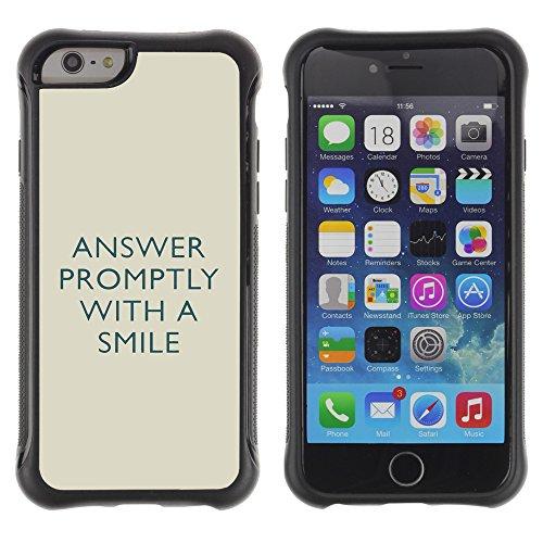Graphic4You Answer Promptly With A Smile Englisch Zitat Nachricht Shockproof Anti-Rutsch Weichen Hülle Case Tasche Schutzhülle für Apple iPhone 6 Plus / 6S Plus Design #15