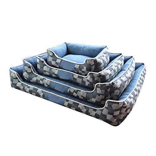 Schöne weiche Hunde Katzen Betten Warm Confort Hundehütte Waschbar Bissfeste Betten für große Hunde Katzen Blau