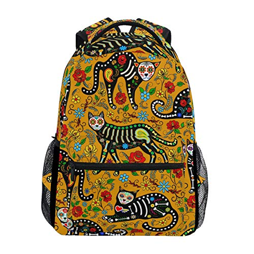 Ahomy Schulrucksack Buchtasche für Teenager Mädchen Jungen Halloween Katze Skelett Blumenmuster Reiserucksack Tasche Wandertasche für Damen Herren