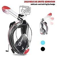 Karvipark Tauchmaske Neueste Innovative Vollmaske Faltbare Schnorchelausrüstung,Vollgesichtsmaske 180°Sichtfeld Anti-Fog Schnorchelmaske für Erwachsene und Kinder