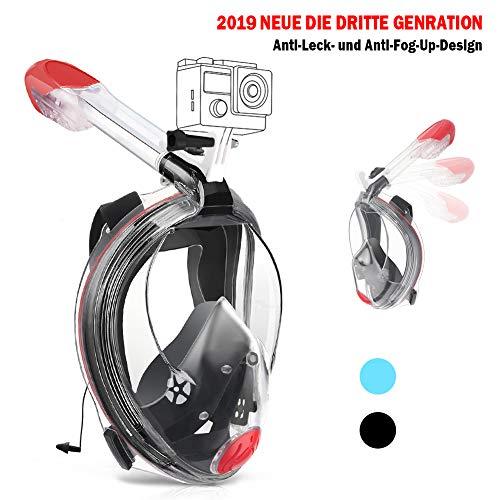 Karvipark Tauchmaske Neueste Innovative Vollmaske Faltbare Schnorchelausrüstung,Vollgesichtsmaske 180°Sichtfeld Anti-Fog Schnorchelmaske für Erwachsene und Kinder (Schwarz M)