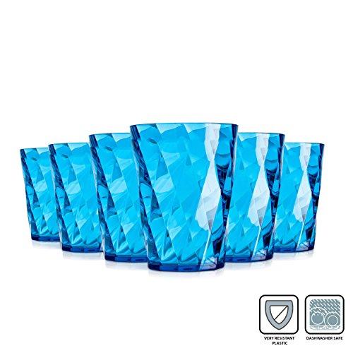Omada Diamant Gläser / 350 ml / Bruchsichere Gläser / Hergestellt aus Acryl / Wasser, Rote Weingläser / Ideal für Tee, Kafee, Whiskey und Milch / 6-teiliges Set / Türkis