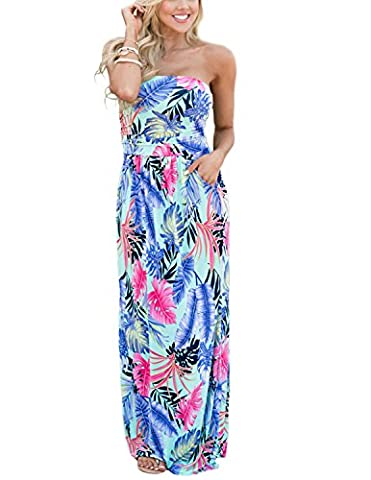 Minetom Women's Off Shoulder Ruffle Bodycon Floral Print Bustier Sleeveless Long Maxi Dress Evening Beach Sundresses with Pockets Flower F UK