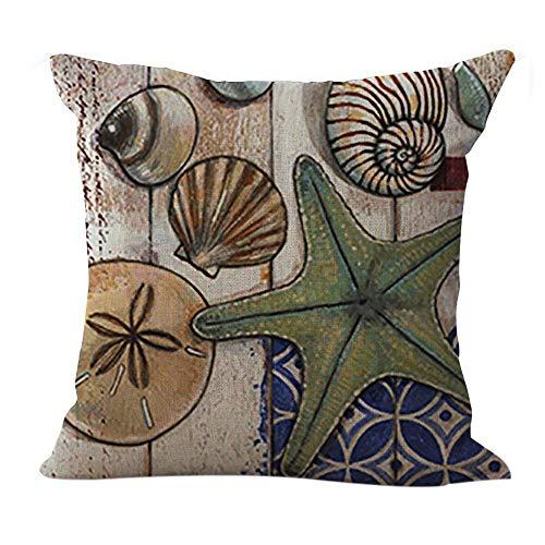 Eeayyygch Baumwolle Leinen Kissen Fisch Muster Square Decor Kissen dekorative Wurfkissen 18'X 18'...