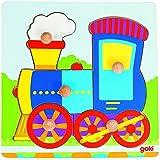 Goki - Puzzle encaje con locomotora, 5 piezas, de madera (Gollnest & Kiesel 57551.0)