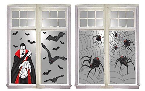 erdbeer-party - Halloween Party Dekoration Fenster Folie Vampir-Spinnen- Fledermaus Grafik, 2 Stück, 76x120cm, Mehrfarbig