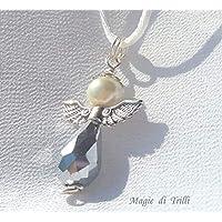 Magie di Trilli Ciondolo artigianale argentato a forma di angelo custode con perla e briolette in cristallo - idea regalo Prima Comunione Natale Pasqua