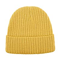 Lamdgbway Boys/Girls Baby Toddler Warm Cable Knitted Beanie Cap Cute Infant Winter Hat for 6M-3 Years Old Yellow B