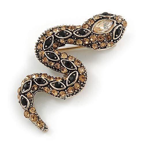 Unbekannt Avalaya Kleine Brosche Schlangenform, Metall, 40 mm lang, champagnerfarben/Schwarz