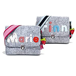 la fraise rouge: Kindergartentasche mit Namen Filztasche für Mädchen & Jungen mit Buchstaben
