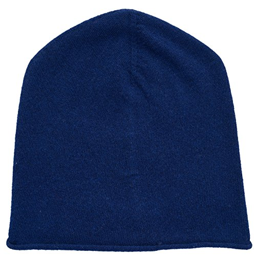 REALLY NICE CASHMERE Eco Kaschmir Mütze - Curl Solid Beanie Unisex - Winter Strickmütze 100% Wolle blau (Unisex-eco-fleece)