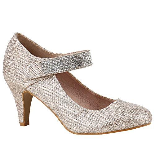 Damen Schuhe Pumps Mary Janes Blockabsatz High Heels T-Strap 156192 Gold Strass 40 Flandell